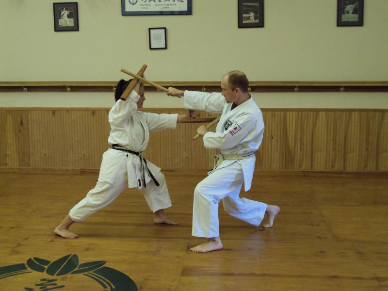 K. Watson, Shihan & Michele Vasquez, Sensei demonstrate Tonfa and Han-Jo